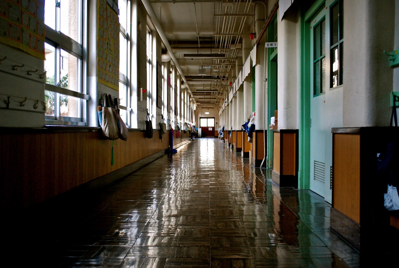 school corridor display of school estate -